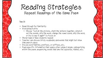 Poetry Shared Reading- Reading Strategies for 5 days with same poem