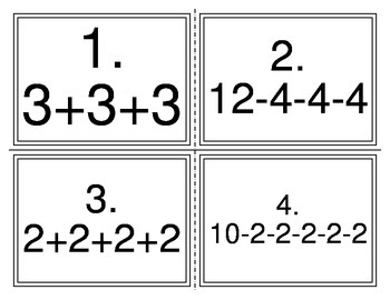 Repeated Add Subtract to Multiply Divide Task Cards TEKS 2
