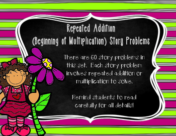 Repeated Addition/Beginning Multiplication Story Problem Task Cards