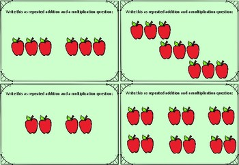 Repeated Addition Cards with Pictures - Teacher's Favourite!