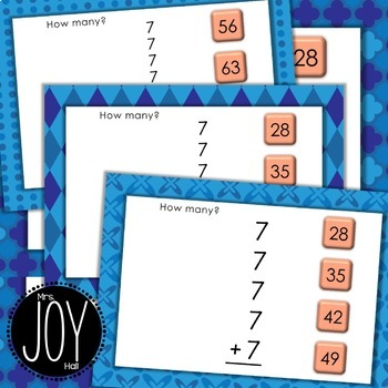 Repeated Addition Task Cards for SEVENS with Digital Boom Cards Option