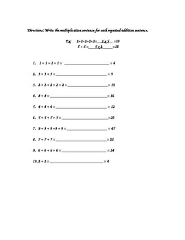 Repeated Addition an intro to multiplication