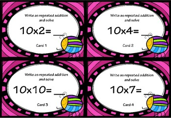 Repeated Addition and Multiplication Activity Cards for 10x Tables