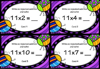 Repeated Addition and Multiplication Activity Cards for 11x Tables