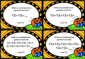 Repeated Addition and Multiplication Activity Cards for 12x Tables