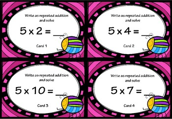 Repeated Addition and Multiplication Activity Cards for 5x Tables