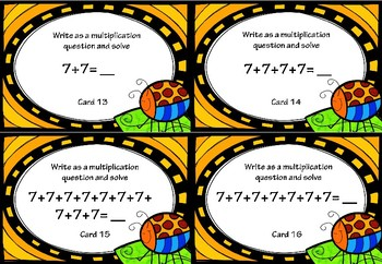 Repeated Addition and Multiplication Activity Cards for 7x Tables