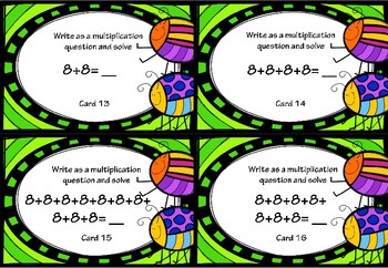 Repeated Addition and Multiplication Activity Cards for 8x Tables