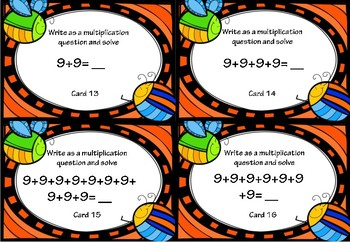 Repeated Addition and Multiplication Activity Cards for 9x Tables