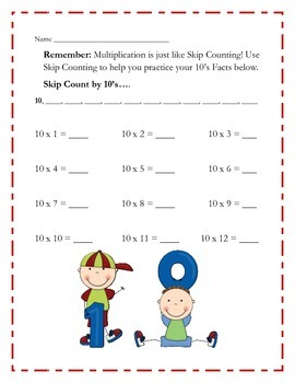 Repeated Addition and Multiplication Practice Cards 10's, 11's and 12's