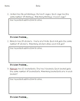 Repeated Subtraction Division Word Problems
