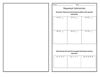 Repeated Subtraction/Division practice