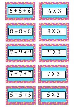 Repeated addition matching game