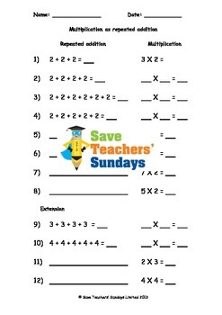 repeated addition worksheets 3 levels of difficulty by save teachers sundays. Black Bedroom Furniture Sets. Home Design Ideas