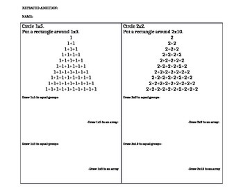 Repeated addition/Multiplication/Arrays