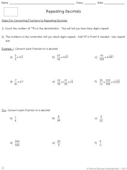 Repeating Decimals Differentiated Notes and Practice