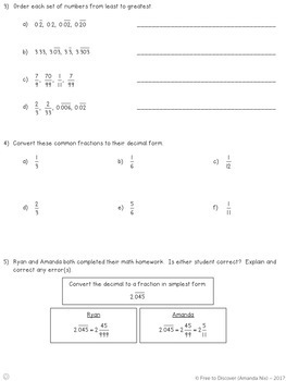 Repeating Decimals Notes and Practice (Differentiated)
