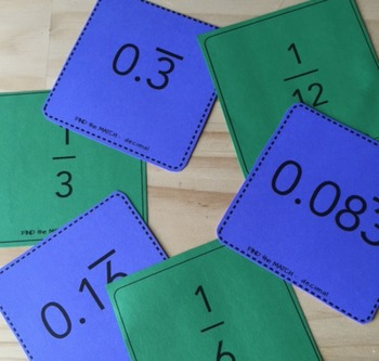 Repeating Decimals - Notes, Worksheets, Matching Cards