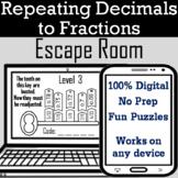 Repeating Decimals to Fractions Activity: Digital Escape Room Algebra Breakout