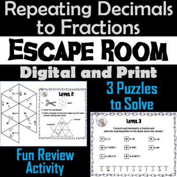 Repeating Decimals to Fractions Escape Room Math