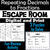 Repeating Decimals to Fractions Activity: Escape Room Math Breakout Game