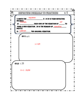 Repeating Decimals to Fractions Notes