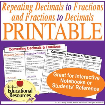Repeating Decimals to Fractions & Fractions to Decimals - Printable