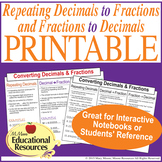 Repeating Decimals to Fractions & Fractions to Decimals -