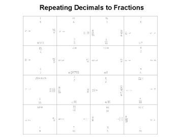 Repeating Decimals to Fractions Fun Square Puzzle
