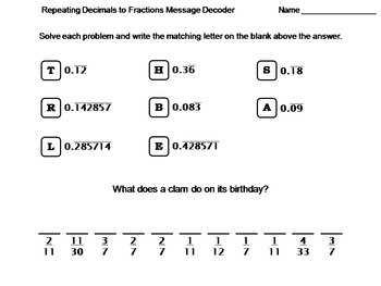repeating decimals to fractions worksheet math message decoder by  repeating decimals to fractions worksheet math message decoder by science  spot