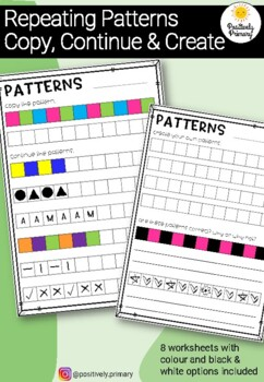 Repeating Patterns Worksheet - Copy, continue and create
