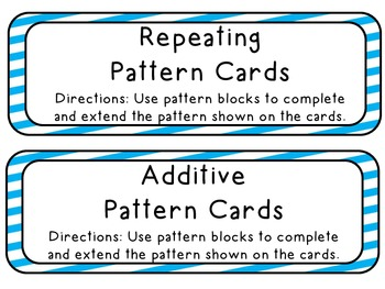 Repeating and Additive Pattern Block Cards