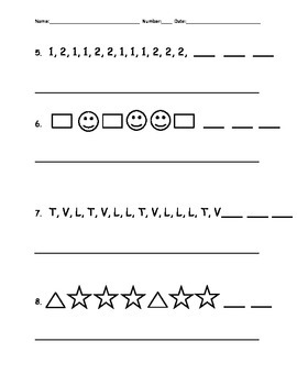 Repeating and Growing Pattern Sheet