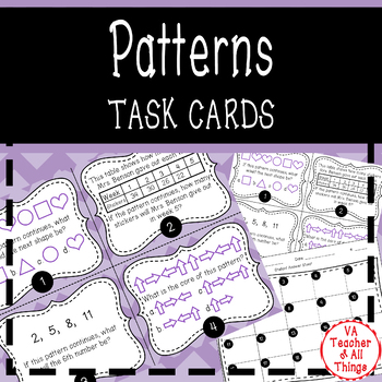 Repeating and Growing Patterns Task Cards SOL 3.16