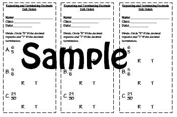 Repeating and Terminating Decimals Notes