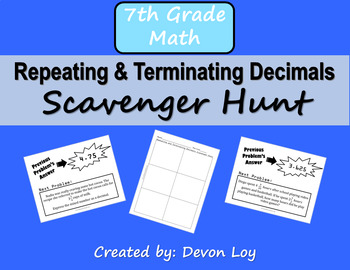Repeating and Terminating Decimals Scavenger Hunt