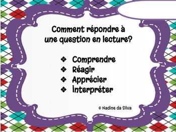 Réponses spécifiques à une question à développement en lecture