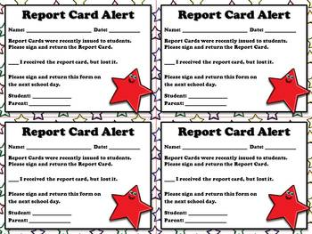 Report Card Alert - Note for Parents  - Superstar Theme -