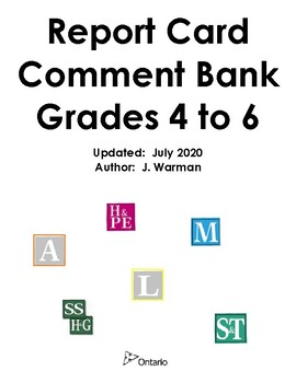 Ontario Report Card Comment Bank - Grades 4, 5, & 6