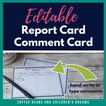 Editable Report Card Comment Card