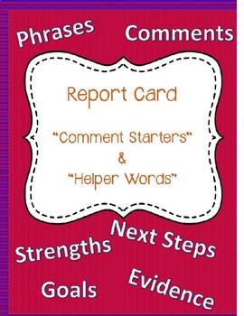 Report Card Comment Starters & Phrases General & Math Related