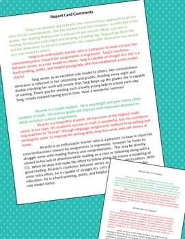 Report Card Comments | Editable Sentences | Beginning, Middle, & End of the Year