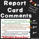 End of Year Report Card Comments
