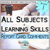 Grade 1 Ontario Report Card Comments - EDITABLE (All Subjects + Learning Skills)