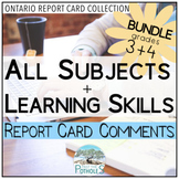 Ontario Report Card Comments - Grade 3 and Grade 4 EDITABLE (All Subjects + LS)