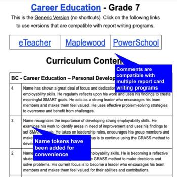 Report Card Comments CAREER EDUCATION British Columbia New Curriculum  (Grade 7)