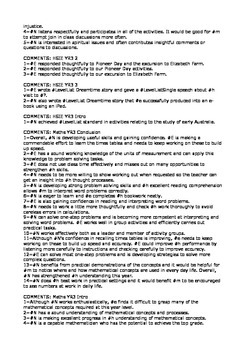 Report Card Comments, Elementary/Primary File 1
