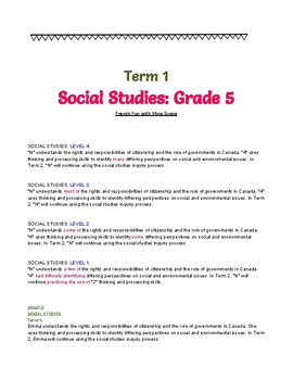 Report Card Comments - Gr 5 - SCIENCE + SOCIAL STUDIES - Ontario