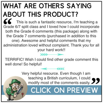 5bbd45f33b2366 Report Card Comments - Grade 6 All Subjects EDITABLE by Past The ...