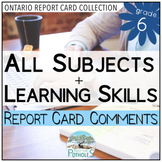 Report Card Comments - Grade 6 All Subjects EDITABLE